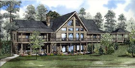 House Plan 61130 | Log Style Plan with 3222 Sq Ft, 2 Bedrooms, 3 Bathrooms, 2 Car Garage Elevation