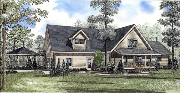 Log House Plan 61130 Rear Elevation