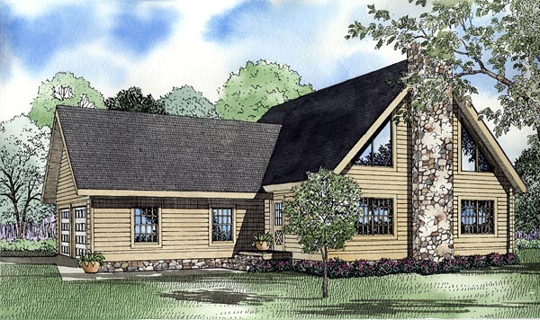 Log House Plan 61131 Elevation