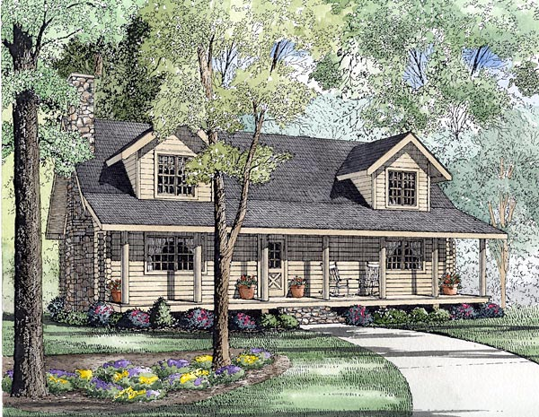 Country Log House Plan 61133 Elevation