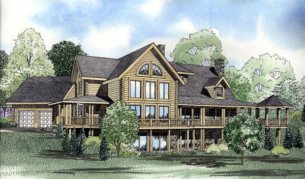 Log House Plan 61135 Elevation