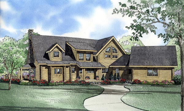 Log House Plan 61135 Rear Elevation
