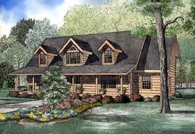 Log House Plan 61136 Elevation