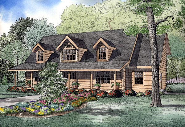 Log House Plan 61136 Elevation