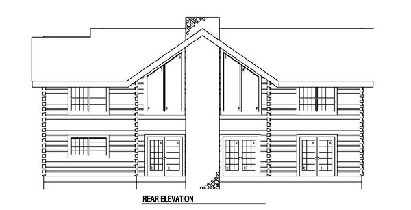 Log House Plan 61136 Rear Elevation