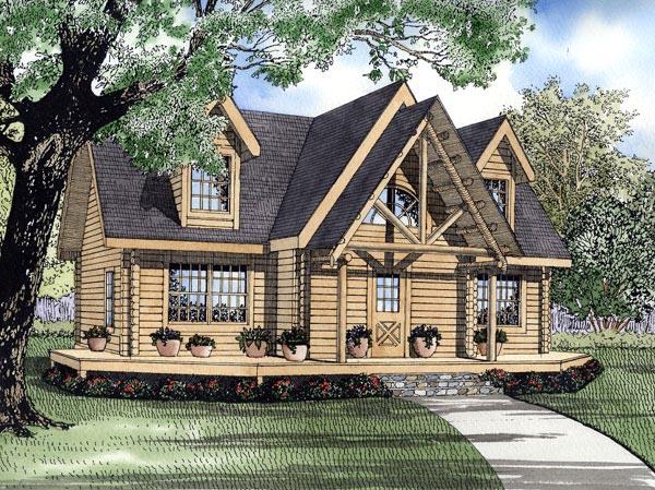 Log House Plan 61137 Elevation