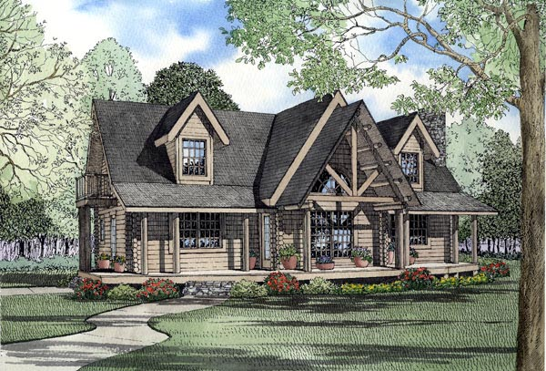 Country Log House Plan 61139 Elevation