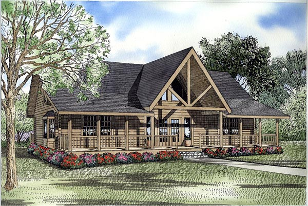Log House Plan 61141 Elevation