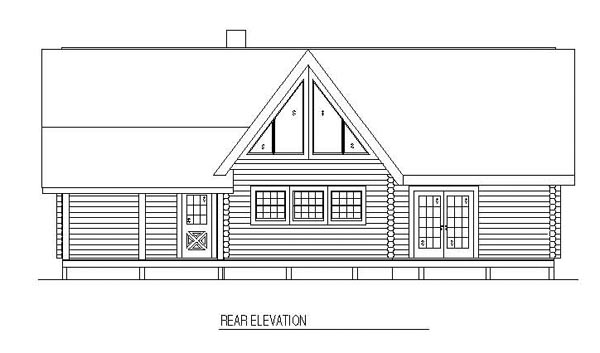 Log House Plan 61141 Rear Elevation