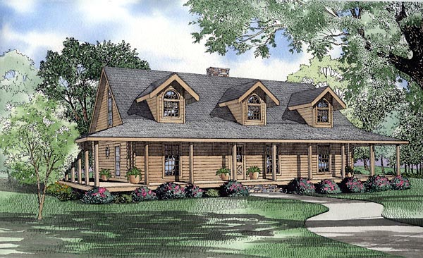 Log House Plan 61142 Elevation