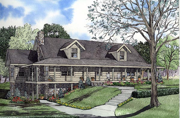 Log House Plan 61143 Elevation