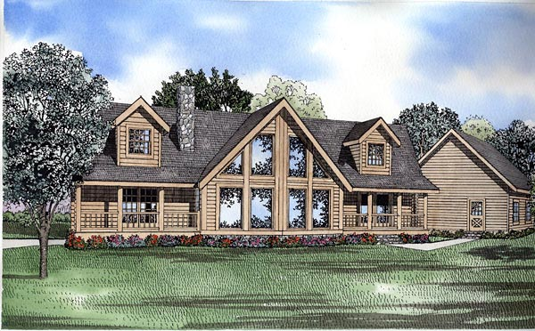 Log House Plan 61144 Elevation