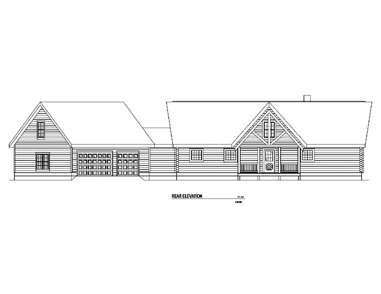 Log House Plan 61144 Rear Elevation