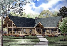 Log House Plan 61145 Elevation