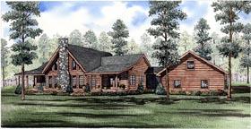 Log House Plan 61146 Elevation