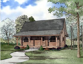 House Plan 61147 | Log Style Plan with 977 Sq Ft, 2 Bed, 1 Bath Elevation