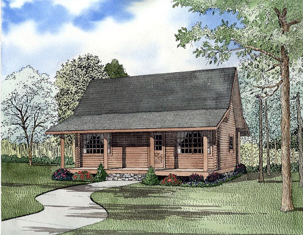 Log House Plan 61147 Elevation