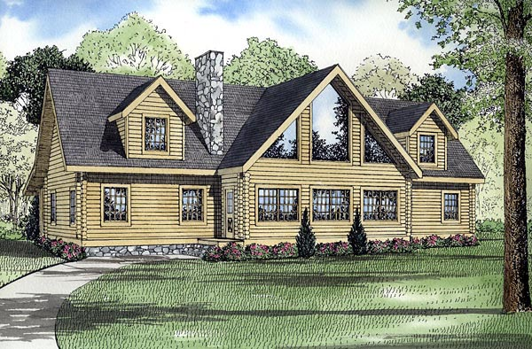 Log House Plan 61148 with 3 Beds, 3 Baths Elevation
