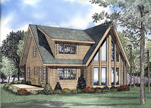 Log House Plan 61149 Elevation