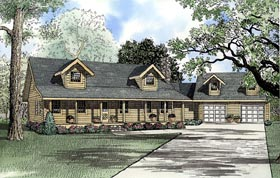 Log House Plan 61150 with 3 Beds, 3 Baths, 2 Car Garage Elevation