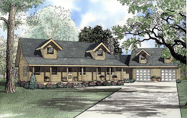 Log House Plan 61150 Elevation
