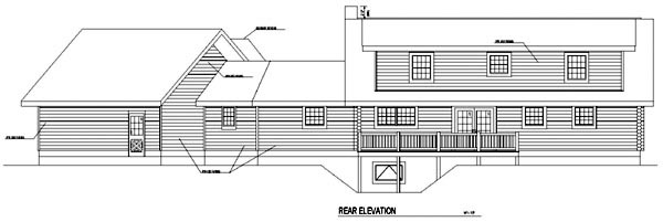 Log House Plan 61150 Rear Elevation
