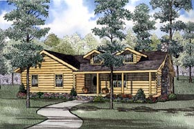 Log House Plan 61152 Elevation