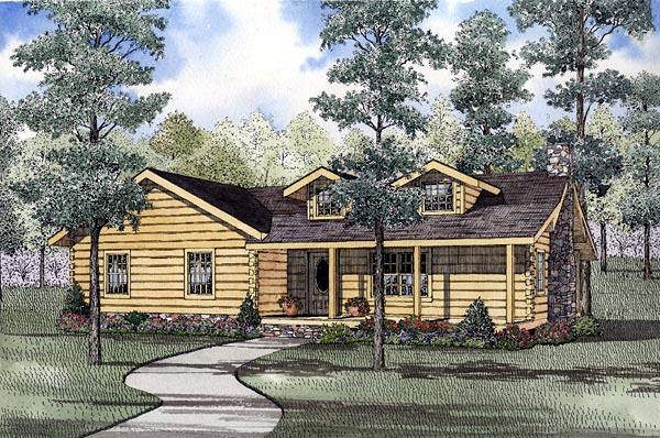 Log House Plan 61152 with 3 Beds, 2 Baths Elevation