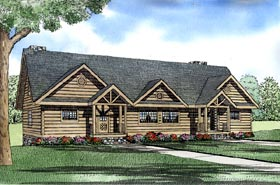 Log Multi-Family Plan 61153 Elevation