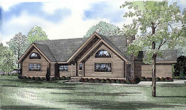 Log House Plan 61154 Elevation