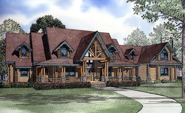 Log House Plan 61155 Elevation