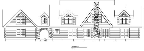 Log House Plan 61155 Rear Elevation