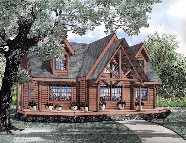 Log House Plan 61156 with 3 Beds, 2 Baths Elevation