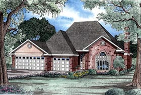 House Plan 61157 | Traditional Style Plan with 2180 Sq Ft, 3 Bedrooms, 3 Bathrooms, 3 Car Garage Elevation