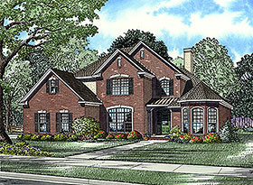 House Plan 61162 | Traditional Style House Plan with 2585 Sq Ft, 5 Bed, 3 Bath, 2 Car Garage Elevation