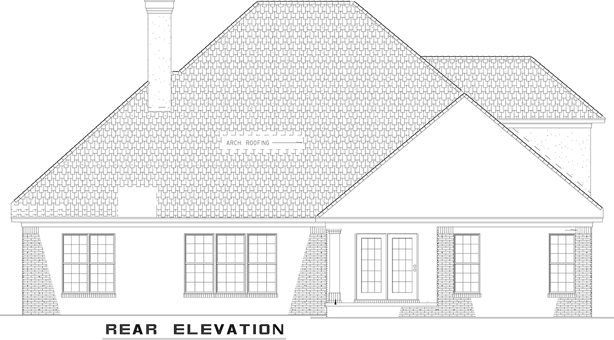 Traditional House Plan 61162 Rear Elevation