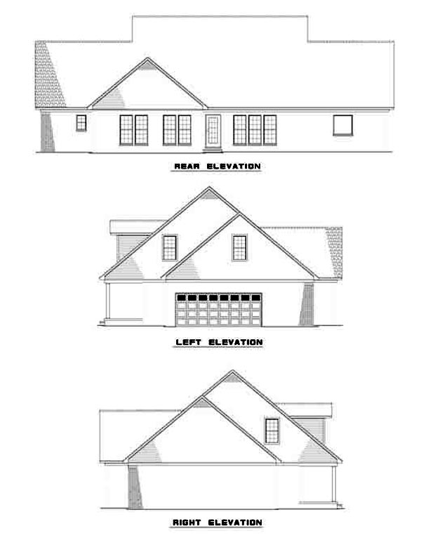 Country Rear Elevation of Plan 61164