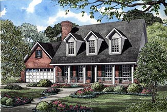 Country House Plan 61166 with 3 Beds, 3 Baths, 2 Car Garage Elevation