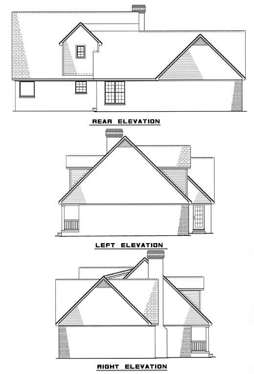 Country House Plan 61166 with 3 Beds, 3 Baths, 2 Car Garage Rear Elevation
