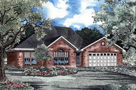 House Plan 61167 | Traditional Style Plan with 1680 Sq Ft, 3 Bedrooms, 2 Bathrooms, 2 Car Garage Elevation