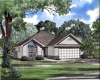 One-Story, Traditional House Plan 61171 with 3 Beds, 2 Baths, 2 Car Garage Elevation