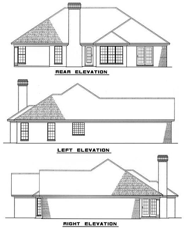 One-Story Traditional Rear Elevation of Plan 61173