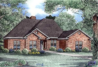 European, One-Story House Plan 61175 with 4 Beds, 3 Baths, 2 Car Garage Elevation