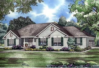 European, Traditional House Plan 61176 with 3 Beds, 3 Baths, 3 Car Garage Elevation