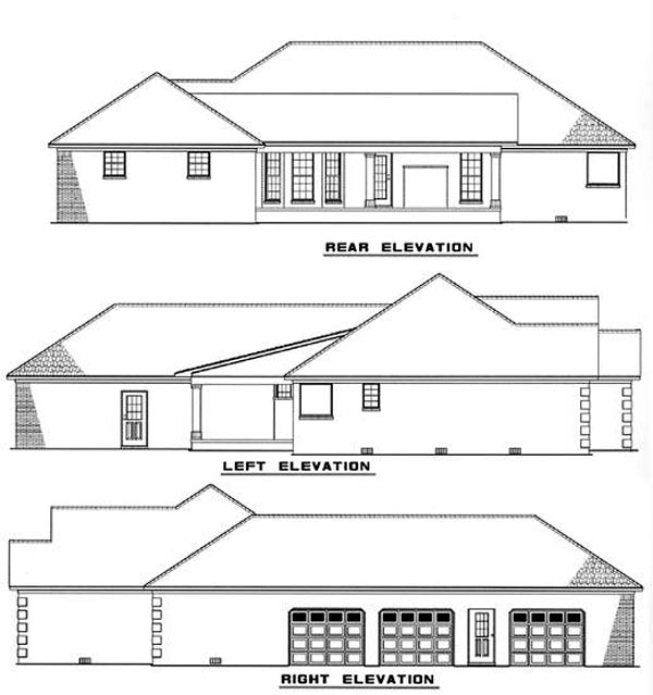 European, Traditional House Plan 61176 with 3 Beds, 3 Baths, 3 Car Garage Rear Elevation