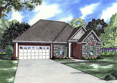 Craftsman One-Story Elevation of Plan 61177