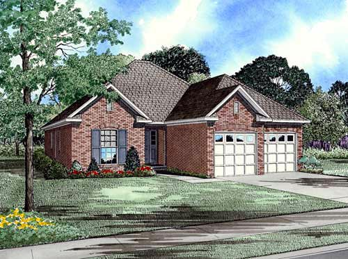 Narrow Lot, One-Story, Traditional House Plan 61179 with 3 Beds, 2 Baths, 2 Car Garage Elevation