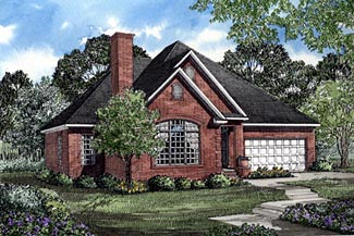 One-Story, Traditional House Plan 61180 with 3 Beds , 2 Baths , 2 Car Garage Elevation