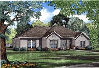 One-Story, Traditional House Plan 61182 with 4 Beds, 2 Baths, 2 Car Garage Front Elevation