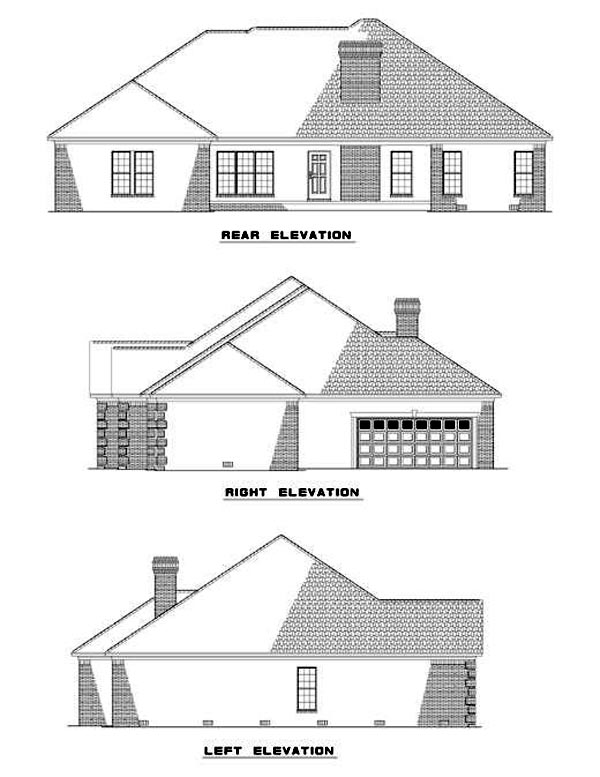 European One-Story Rear Elevation of Plan 61183
